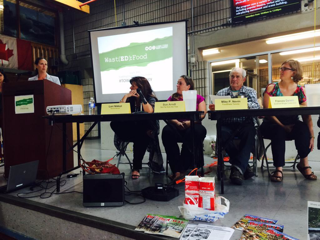 From left to right: Lori Nikkel of Second Harvest , Sue Arndt of Not Far from the Tree, Mike Nevin of FoodShare Toronto, Frances Darwin of ZooShare (not pictured: Helene St. Jaques of Informa Market Research.) Photo Credit: Twitter (@2ndHarvestTO July 9th 2015)
