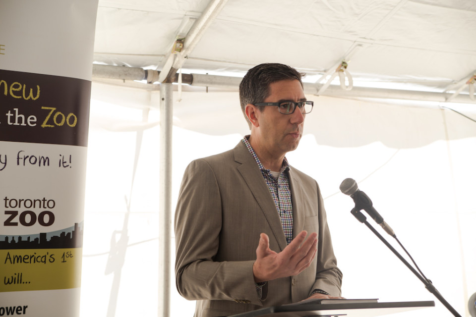 Ron Seftel, CEO of Bullfrog Power, speaks at the ZooShare groundbreaking event.